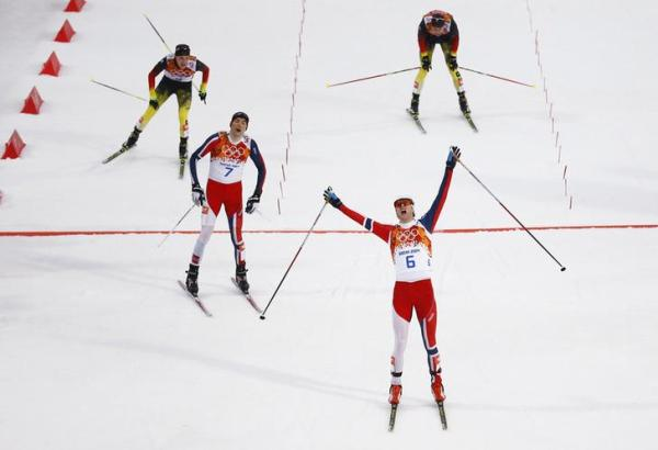 Graabak finishes first in the cross country race of the Nordic Combined individual Gundersen 10 km event of the Sochi 2014 Winter Olympic Games
